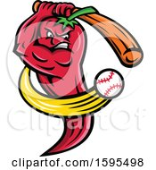 Clipart Of A Tough Red Red Chili Pepper Mascot Swinging A Baseball Bat Royalty Free Vector Illustration
