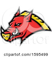 Clipart Of A Tough Red And Yellow Russian Razorback Boar Pig Mascot Head Royalty Free Vector Illustration by patrimonio