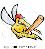 Clipart Of A Tough Yellow Mosquito Holding A Baseball Bat Royalty Free Vector Illustration