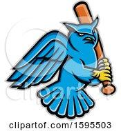 Poster, Art Print Of Tough Blue Great Horned Owl Holding A Baseball Bat