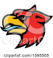 Clipart Of A Tough Red Griffin Mascot Head Royalty Free Vector Illustration