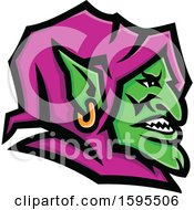 Green Goblin Mascot Head With A Purple Hood