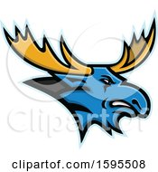 Clipart Of A Tough Blue Moose Mascot Head With Yellow Antlers Royalty Free Vector Illustration