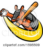 Clipart Of A Tough Armadillo Mascot Holding A Baseball And Bat Royalty Free Vector Illustration