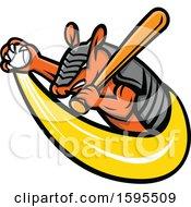 Clipart Of A Tough Armadillo Mascot Holding A Baseball And Bat Royalty Free Vector Illustration