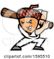 Poster, Art Print Of Acorn Headed Baseball Player Batting