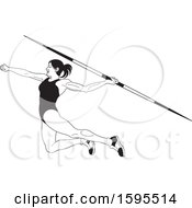 Black And White Female Athlete Throwing A Javelin