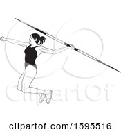 Clipart Of A Black And White Female Athlete Throwing A Javelin Royalty Free Vector Illustration