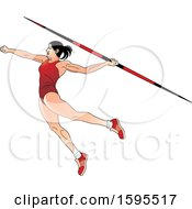 Female Athlete In A Red Suit Throwing A Javelin