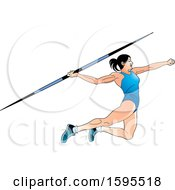 Female Athlete In A Blue Suit Throwing A Javelin