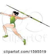 Female Athlete In A Green Suit Throwing A Javelin