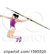 Female Athlete In A Purple Suit Throwing A Javelin