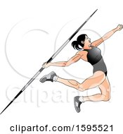 Female Athlete In A Black Suit Throwing A Javelin