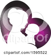 Silhouetted Mother Holding A Baby Over A Heart