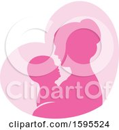 Poster, Art Print Of Silhouetted Mother Holding A Baby Over A Pink Heart