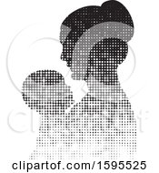 Clipart Of A Silhouetted Hafltone Mother Holding A Baby Royalty Free Vector Illustration