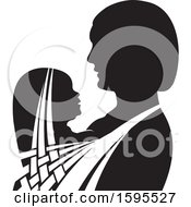 Clipart Of A Black And White Silhouetted Mother Holding A Child Royalty Free Vector Illustration