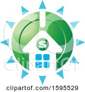 Clipart Of A Shining Usd Dollar Symbol House Bank Icon Royalty Free Vector Illustration