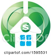 Clipart Of A Usd Dollar Symbol House Bank Icon Royalty Free Vector Illustration