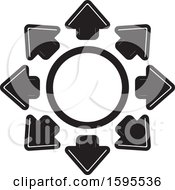 Clipart Of A Circle Of Black And White Arrows Royalty Free Vector Illustration