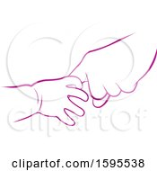 Clipart Of Baby And Elder Hands Royalty Free Vector Illustration