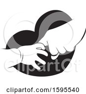 Clipart Of  Black And White Baby And Elder Hands Over A Heart Royalty Free Vector Illustration