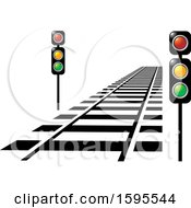 Clipart Of A Train Track And Lights Royalty Free Vector Illustration