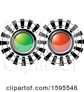 Clipart Of A Train Signal Lights And Tracks Royalty Free Vector Illustration