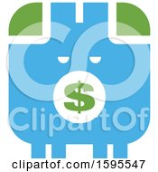 Clipart Of A Green And Blue Piggy Bank Royalty Free Vector Illustration