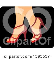 Clipart Of A Pair Of Legs With Red High Heels Royalty Free Vector Illustration