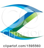 Clipart Of A Green And Blue Letter Z Design Royalty Free Vector Illustration