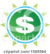 Clipart Of A Usd Dollar Symbol Sun Icon Royalty Free Vector Illustration