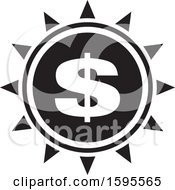 Clipart Of A Black And White Usd Dollar Symbol Sun Icon Royalty Free Vector Illustration