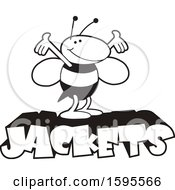 Clipart Of A Black And White Yellow Jacket School Mascot Over Text Royalty Free Vector Illustration