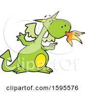 Clipart Of A Fire Breathing Dragon School Mascot Royalty Free Vector Illustration