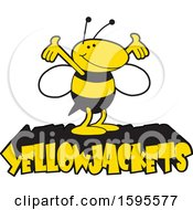Clipart Of A Yellow Jacket School Mascot Over Text Royalty Free Vector Illustration