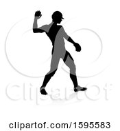Poster, Art Print Of Black Silhouetted Baseball Player Pitching With A Reflection On A White Background
