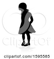 Silhouetted Girl With A Reflection Or Shadow On A White Background