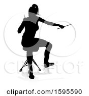 Clipart Of A Silhouetted Female Drummer With A Reflection Or Shadow On A White Background Royalty Free Vector Illustration by AtStockIllustration