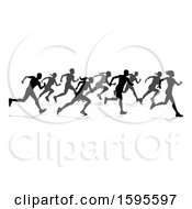Silhouetted Group Of Runners With Reflections Or Shadows On A White Background