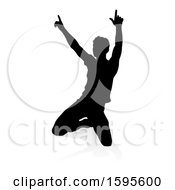 Clipart Of A Silhouetted Male Musician With A Reflection Or Shadow On A White Background Royalty Free Vector Illustration