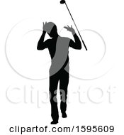 Clipart Of A Silhouetted Male Golfer Royalty Free Vector Illustration by AtStockIllustration