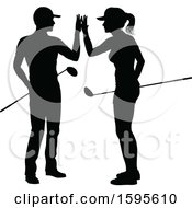 Clipart Of A Silhouetted Couple Golfing Royalty Free Vector Illustration