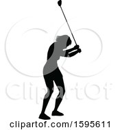 Clipart Of A Silhouetted Female Golfer Royalty Free Vector Illustration by AtStockIllustration