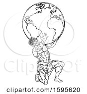 Clipart Of A Lineart Black And White Atlas Titan Man Carrying A Globe Royalty Free Vector Illustration