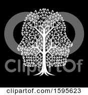 Clipart Of A White Tree With Profiled Faces In The Canopy On Black Royalty Free Vector Illustration