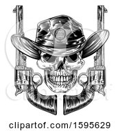 Clipart Of A Cowboy Sheriff Skull With Crossed Guns In Black And White Royalty Free Vector Illustration by AtStockIllustration