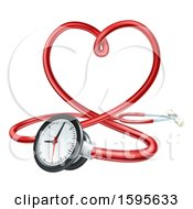 3d Medical Stethoscope Forming A Red Love Heart