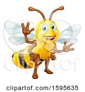 Clipart Of A Happy Friendly Bee Mascot Waving Royalty Free Vector Illustration