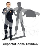 Clipart Of A White Business Man Standing With Folded Arms And A Super Hero Shadow Royalty Free Vector Illustration